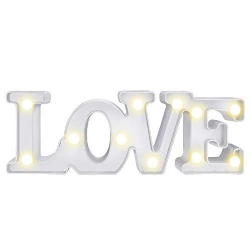 twentyfeet lampada luce notturna per bambini, lampada da comodino bambini Love Bianco LED Lampada a batteria per bambini 29x 10x 4.5cm (rosso)