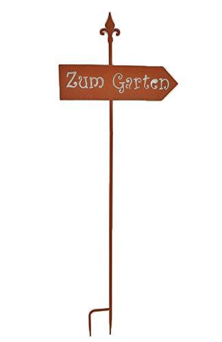 Jardinion Gartenschild Zum Garten aus Metall, Edel Rost-Optik, Garten Blumentopf Design Deko Eingangsschild