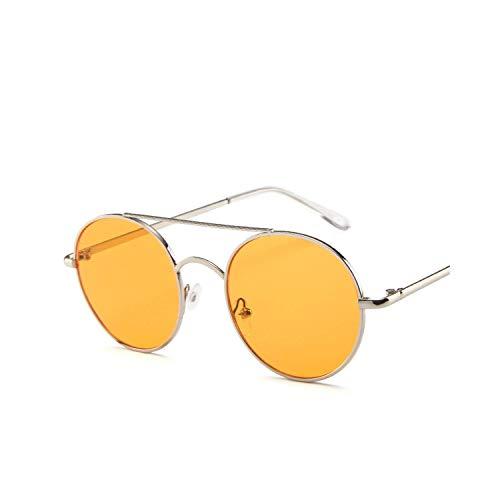 Vintage Sonnenbrillen, New Metal Round Frame Sunglasses Europe And The United States Orange Trend Round Ocean Piece Retro Sunglasses Orange ()