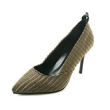 SANMULYH Donne'S Scarpe Molla Pu Cadere Comfort Tacchi Stiletto Heel Per Casual Army Green Nero Army green