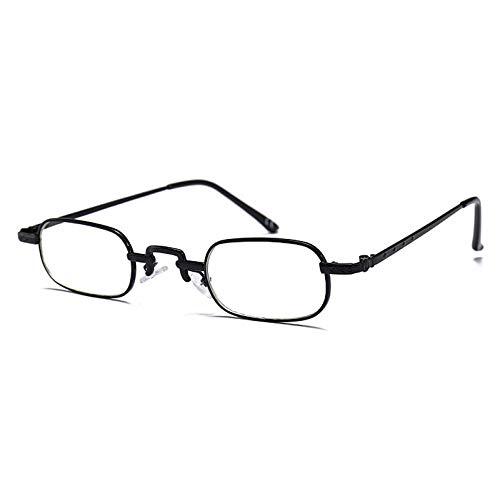 YMTP Rechteckige Brillen Rahmen Für Männer Metallrahmen Kleine Gläser Frauen Optische Vintage Retro Unisex, Schwarz Mit Klar