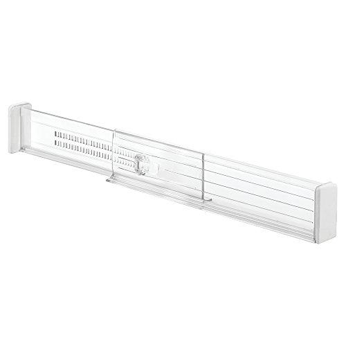 iDesign Schubladen Organizer, verstellbares Schubladen Ordnungssystem aus Kunststoff für die Küche, 2er-Set Schubladentrenner für tiefe Schubladen, durchsichtig -