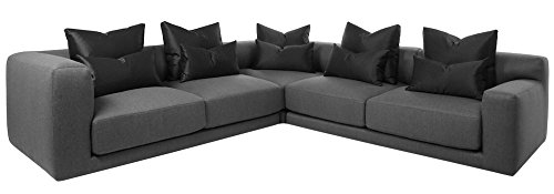 Afydecor Contemporary Four Seater Sectional Sofa with Low Broad Arms - Grey