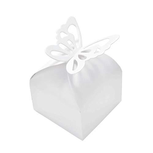 JZK 50 x Weiß Schmetterling Quadratisch Bonbons Geschenkbox Süßigkeiten Schachtel, Dekoration für Hochzeit Geburtstag Party Taufe Babyparty Baby Shower Gartenparty Festival (Dekoration Für Die Taufe)