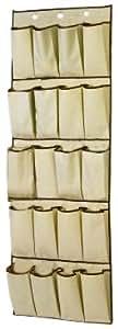 H l russel portascarpe da porta 20 scomparti color crema con bordi marroni 48 x 138 cm - Portascarpe da appendere ...
