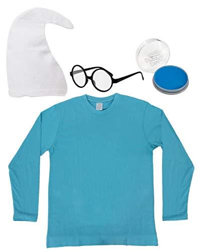 ILOVEFANCYDRESS BLAUES Zwerge Erwachsene SCHLUMPF=Unisex=VERKLEIDUNG-KOSTÜM=Fasching-Karneval-Party=ERHALTBAR IN Verschiedenen VARIATIONEN=WEIßE MÜTZE+Make UP+Brille+Shirt-SMALL