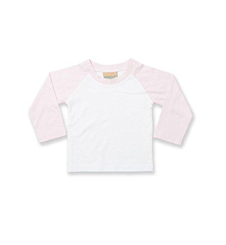 Ärmel Nackenband (Larkwood Long Sleeved Baseball T Shirt in White/Pale Pink Größe: 6/12 Monate)