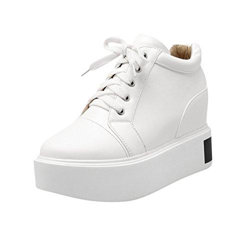 Mee Shoes Damen Schnürsenkel Durchgängiges Plateau hidden heel Pumps Weiß