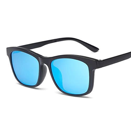 LKVNHP Quadratische Polarisierte Magnet Clip Auf Sonnenbrille Frauen Männer Titanium Sonnenbrille Für Männer Fahren Double Lens Verschreibungspflichtige BrillenBlau