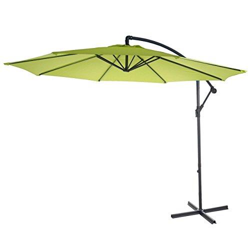 Mendler Ampelschirm Acerra, Sonnenschirm Sonnenschutz, Ø 3m neigbar, Polyester/Stahl 11kg ~ grün-Lemon ohne Ständer