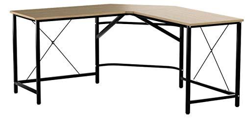DlandHome Computertisch Eckschreibtisch 150 cm + 150 cm Winkelschreibtisch L-förmig, großer Gaming Schreibtisch Arbeitstisch Bürotisch PC Laptop Studie Tisch mit CPU-Ständer,Eiche & Schwarz