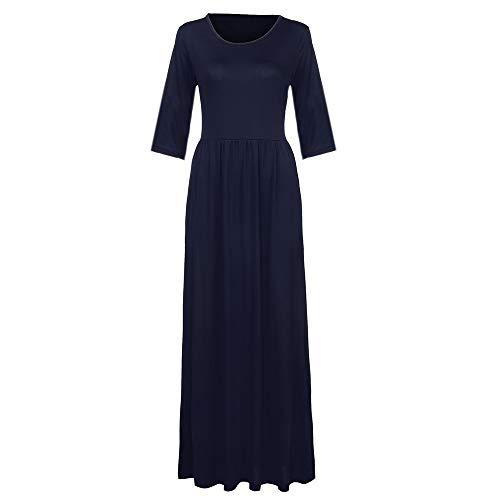 MIRRAY Damen Hülse mit Drei Vierteln Einfarbig Tasche Loose Casual Knöchel Länge Kleid Maxi Kleid