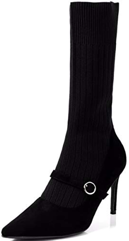 HBDLH Chaussures pour Femmes/Pointe Talon Minces La Hauteur du Talon Chaussettes 8Cm Chaussettes Talon Et Bottes Bottines Élastiques... cb7e71