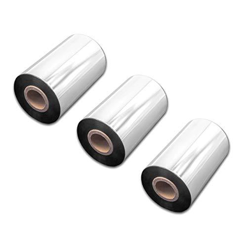 vhbw 3X wischfest Thermotransfer-Band schwarz 100mm 300m für Drucker Etikettendrucker Citizen CLP-621, CLP-631, CLP-7201e, CLP-8301, CLP-9001