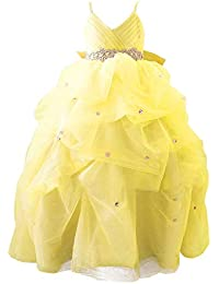 51061dcaa2901 VKStar® Robe Enfant Mariage Longue Organza Robe Fille Cérémonie Soirée  Bretelles Fines Robe Princesse Fille