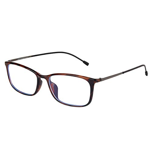 H.Yue Blue Light Blocking Glasses,Transparent Lens for Anti Eyestrain/Reflective/Glare(No Magnification) (Leopard)