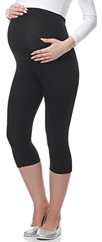 Be Mammy 3/4 Umstandsleggings BE-03 (Schwarz, M)