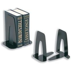 5 star Office Book Ends - Paquete de 2 sujetalibros de metal (178 mm), negro