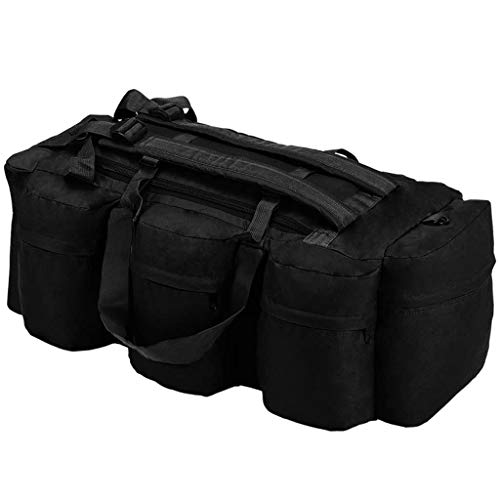 VidaXL Bolso Lona Estilo Militar 3-en-1 120L Negro