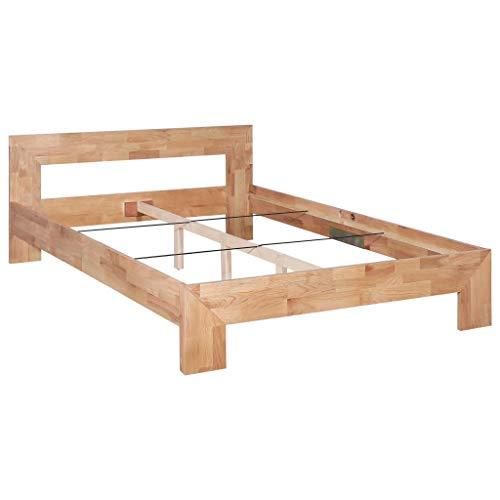 Festnight Bettrahmen   Elegant Bettgestell   Massivholzbett   Holz Doppelbett   Rustikal Holzbetten   Massivholz Eiche 140 x 200 cm