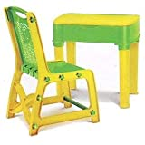 Study Table & Chair Set For Kids Unisex Desk For Boys & Girls Green Yellow