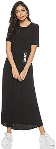 Calvin Klein Women's Ss Logo Strap Midi Dress Dre