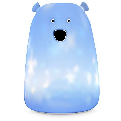 Navaris LED Nachtlicht Bär mit Sternenprojektion - wiederaufladbar mit Micro USB Kabel - Farbwechsel Licht Kinder Nachttischlampe Leuchte - Weiß