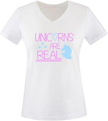 EZYshirt® Unicorns are real Damen V-Neck T-Shirt Weiss/Rosa/Hellbl