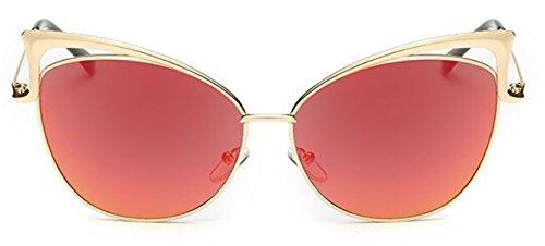 I 'm King Modische Metall Rahmen Cat Eye Sonnenbrille Oversized Eyewear mirriored Reflektierende Objektiv L gold