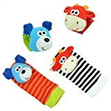 Xy Fancy 4Pieces Newest Baby Babies Soft Toy Wrist Rattles Hand Foot Finder Developmen (2Different Art, Occasional Delivery)