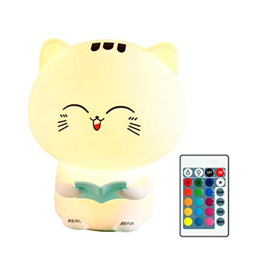 Message D'enregistrement Cat Silicone Pat Light Coloré Télécommande Night Light Creative Enfants De Dessin Animé Populaire Cat Lampe De Chevet (Couleur : Bleu, edition : Remote control version)