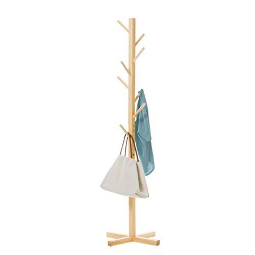 QARYYQ Einfache Boden Massivholz Garderobe einfache Kleiderbügel Mode Kleiderbügel Wohnzimmer Lagerung Schlafzimmer Kleiderbügel weiß, rot, braun, gelb, 158 x 50 cm. Garderobe (Color : Yellow) -