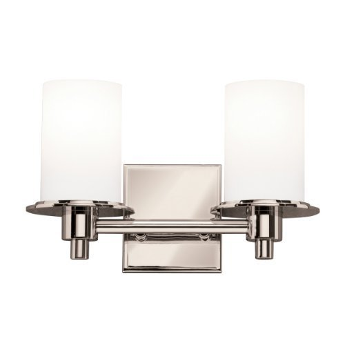 Cased Opal Shade (5437PN Cylinders 2LT Vanity Fixture, Polished Nickel Finish with Satin Etched Cased Opal Glass Shades by Kichler Lighting)