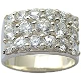 Chuncky bling bling man's ring in solid silver with 15 quality CZ crystals by BodyTrend - weight about 10g - size P