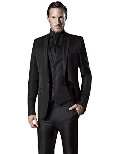 One Button Klassische Hosen-anzug (QZI Herren 3 Stück Anzug Solide One Button Slim Fit Party Jacke Weste Hose Set)