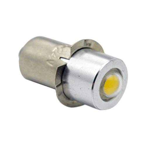 Ruiandsion P13.5S Taschenlampe LED Birne DC 3-18V 1W Weiß COB LED Birne für Taschenlampe Taschenlampe Scheinwerfer, negative Erde (2 Stück)