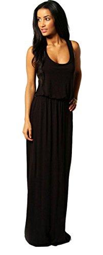 Damen Kleid Maxikleid Bodenlang Sommer Urlaub Boho Stil Neon SML 36 38 40 (369) (Schwarz)