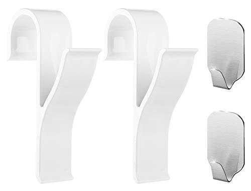 Gancio rotondo per termosifone (4 pezzi) - 2 pezzi di appendini per termoarredo (bianco), 2 pezzi di ganci adesivi per asciugamani in acciaio inossidabile - riordina il tuo bagno, handy picks