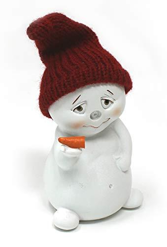 TEMPELWELT Deko Figur Schneemann Nase Ab 11 cm, Polystein Weiß Textil Wollmütze Rot, Dekofigur Winter Weihnachten...