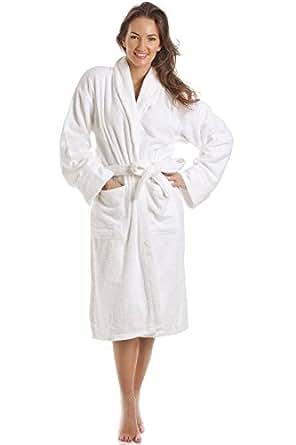 Camille Womens White 100% Cotton Towelling Bath Robe S/M