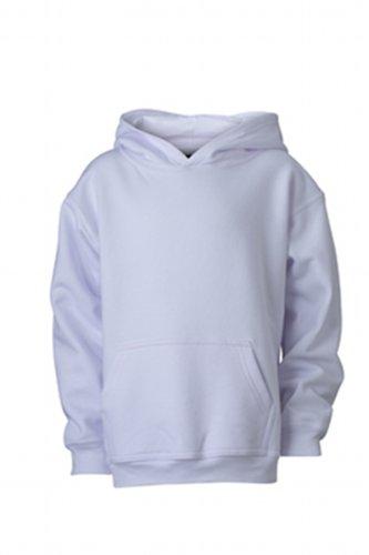 James & Nicholson Jungen Hooded Sweat Junior Sweatshirt, Weiß (white), Medium (Herstellergröße: M (122/128)) Hooded Sweatshirt Medium Baumwolle