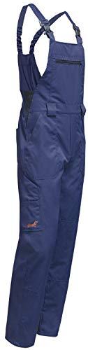 KERMEN - Salopette da Lavoro Hamburg con Elastico in Vita. Pantaloni rinforzati al Ginocchio - Boilersuit Made in Europe - Taglia: 48, Colore : Blu Scuro