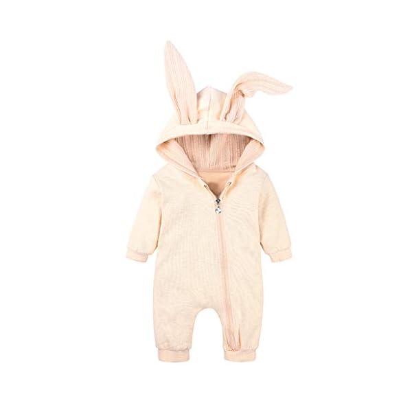 Mameluco Bebe Niño Mono Bebe Invierno Encapuchado Color Solido Oreja de Conejo Ropa Bebe Niña Recien Nacido 3