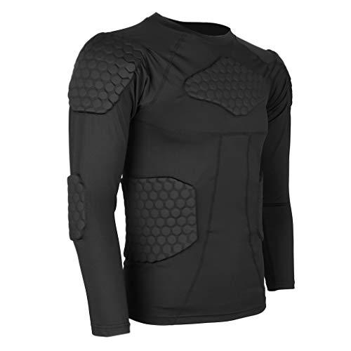 YOUGL Männer Compression Shirt Rib Brust Schulter Rückenprotektor für Fußball Basketball Paintball Radfahren Parkour Bike Snowboard,XXL