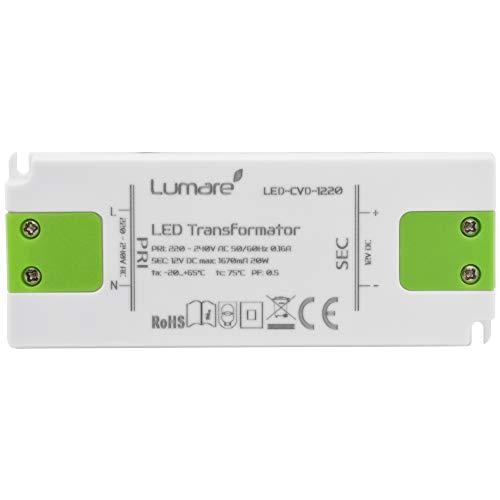 Lumare LED Trafo Slim 230V AC auf 12V DC 20W Leuchtmittel Transformator extra flach Treiber Spannungsstabilisiert