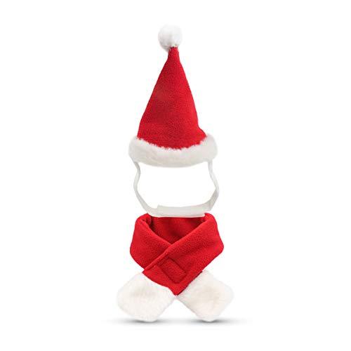 Hund Katze Haustier Santa Hut Schal Weihnachten Kostüm Schalldämpfer Cosplay Kostüme Hundebekleidung Winter für Welpen Kätzchen Kleine Katzen Hunde Haustiere Liebenswert und Warm Rot und Weiß