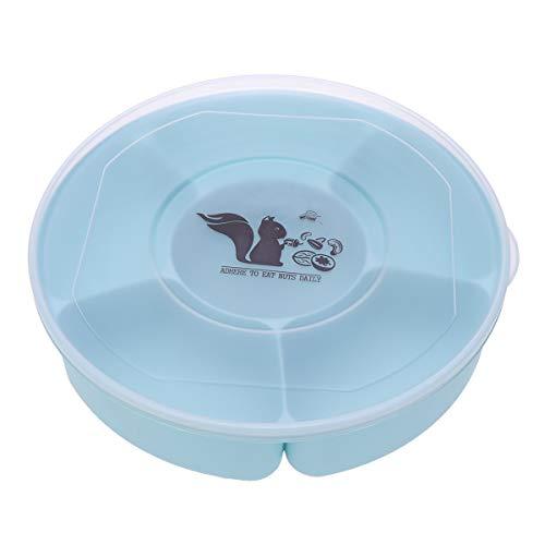 UPKOCH Kunststoff Geteiltes Tablett mit Deckel Snack Teller Serviergeschirr für Süßigkeiten Nuss (Blau)