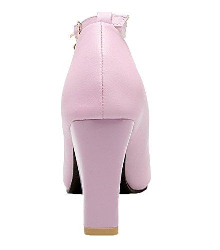 Luce Donna Alto Solido Colore Tacco Fibbia Rosa Scarpe Voguezone009 Pu Pelle In vEdUq