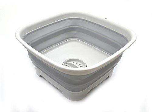 sammart 9.1l (2.4gallon) zusammenklappbar Dishpan mit Abtropf Plug–zusammenklappbar Waschbecken–Tragbar Gericht WASCHANLEITUNG Badewanne–Platzsparende Küche, (grau) m grau
