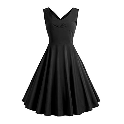 UFACE Kleid 50er Jahre Rockabilly Damen Vintage Polka Dots Blumendruck Bodycon Ärmellos Casual Abend Prom Swing Kleid Röcke Petticoa -